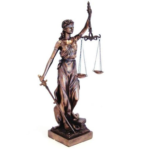 JUSTITIA Themis Goddess of Justice & Law Statue Real Bronze Powder Cast Sculpture