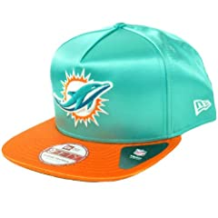 NFL New Era 9Fifty 950 Miami Dolphins Team Satin A Frame Retro Snapback Hat Cap by New Era