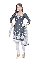 Ishin Cotton Grey & White Embroidered Unstitched Dress Material
