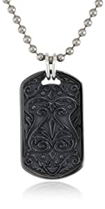 Edward Mirell Black Titanium Sterling Silver Heritage Dog Tag Men's Necklace