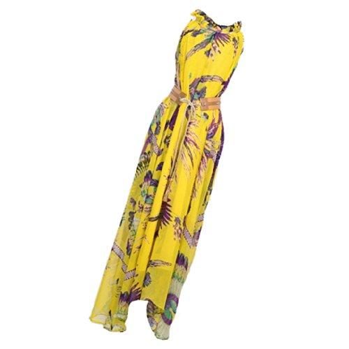 Sexy Women Floral Print Sleeveless Chiffon Long Dress With Belt Size L - Yellow
