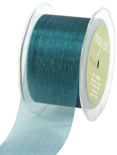 May Arts 2-Inch Wide Ribbon, Blue Sheer Pinstripes