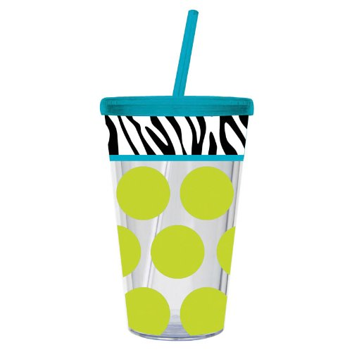 Zebra/ Dot Insulated Cup Color: Green Dot front-1011606