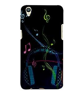 Music Head Phones 3D Hard Polycarbonate Designer Back Case Cover for Oppo F1 Plus