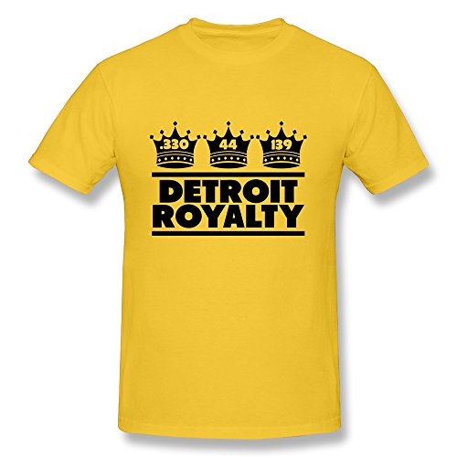 100% Cotton Vintage Detroit Royalty Three Crowns Tee Shirts For Guy'S - Round Neck front-744022
