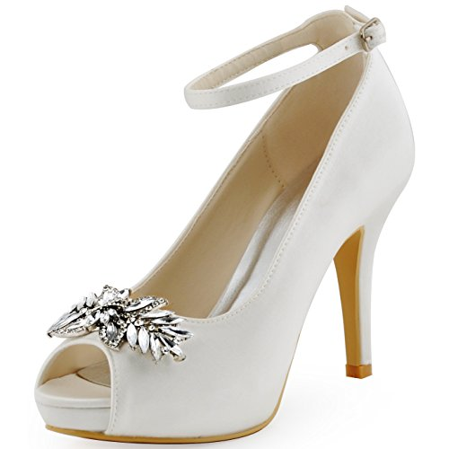 ElegantPark HP1544I Women Pumps Peep Toe Leaves Clips Rhinestones Platform Stiletto Wedding Bridal Shoes White US 8
