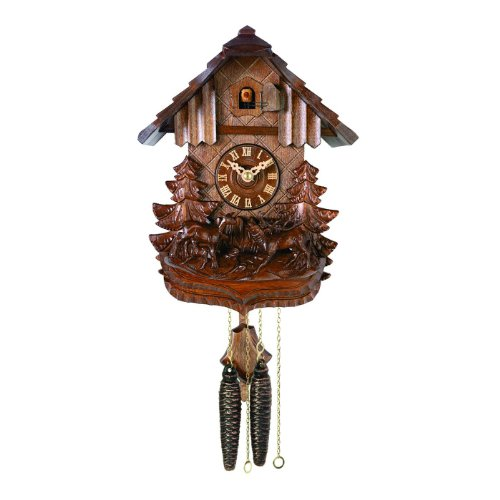 River City Clocks 57-10 Chalet Style One Day Cuckoo Clock Cottage with Hand-Carved Deer Family In Forest, 10-Inch Tall