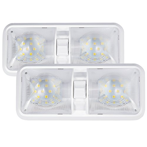 Kohree 12V Led RV Ceiling Dome Light RV Interior Lighting for Trailer Camper with Switch, White(Pack of 2) (White Trailer compare prices)