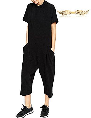 BYD da Donna Monopezzi e Tutine Manica Corta Tuta Sciolto Playsuit Jumpsuit Pantaloncini 3/4