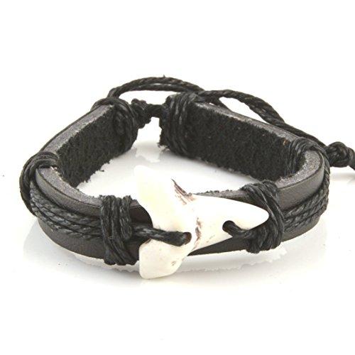 Shark Tooth Leather Bracelet - Adjustable Cord Surfer Bracelet (Kids Shark Bracelet compare prices)