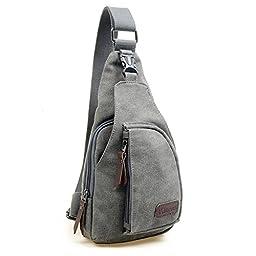 Kalevel Cool Outdoor Sports Casual Canvas Unbalance Backpack Crossbody Sling Bag Shoulder Bag Chest Bag for Men - Size L (Grey)