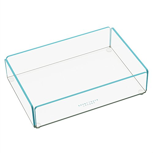 savvy-trays-flash-tidy-small-transparent-acrylic-stackable-storage-tray-with-bright-aqua-blue-trim-b