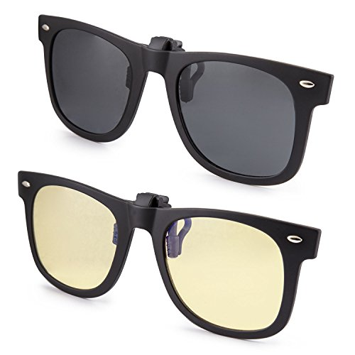 Best Lightweight Glasses Frames : ClipShades 2 Pack Lightweight Clip-on Sunglasses and Anti ...