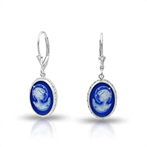 Bling Jewelry 925 Silver Blue Simulated Resin Cameo Leverback Earrings