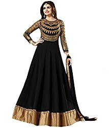 OMSAI FASHION Women's black Georgette Embroidery semi stitched Free Size Salwar Suit Dress Material (Women's Indian Clothing )