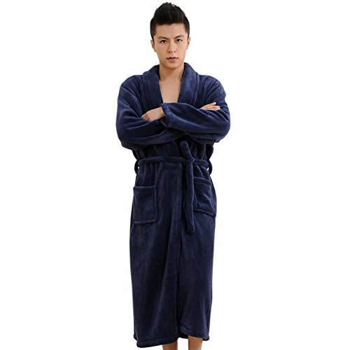 CaiDieNu-Mens-Super-Soft-Flannel-Shawl-Collar-Pajama-Robe-Bathrobe