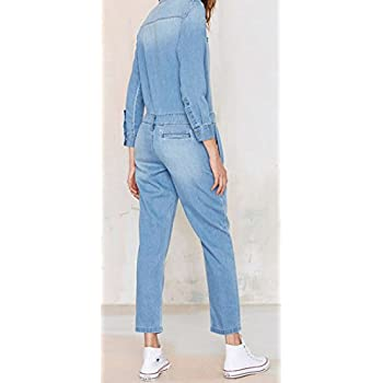 Darceil Women's Vintage Blue Long Sleeve Long Pants Denim Jumpsuit Overalls