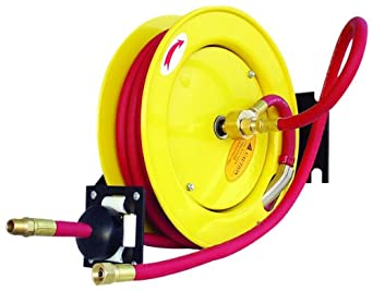 "Amflo 510HR-RET Automatic Open Hose Reel With 250 PSI 3/8"" x 25' Red Rubber Air Hose"