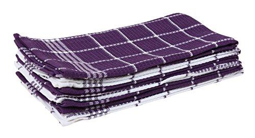 J & M Home Fashions Waffle Weave Kitchen Towel Set (6 Pack), Eggplant