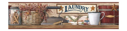 York Wallcoverings Best Of Country Hk4633Bd Country Laundry Border, Burgundy Band/Khaki front-107275