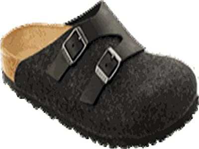 Birkenstock Clogs ''Graz'' from Leather/Wool in Black/Anthrazit with a regular insole