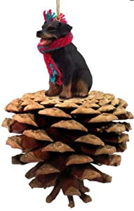 Rottweiler Real Pinecone Dog Christmas Ornament