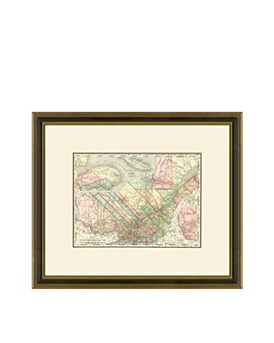 "Vintage Print Gallery Antique Map Of Quebec 1886-1899, Multi, 17.5"" x 20.5"""