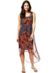 Indigo Collection Elliptical Hem Blossom Print Dress with Camisole