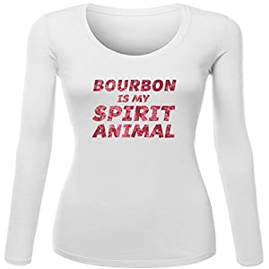 Bourbon Is My Spirit Animal for Women Printed Long Sleeve Cotton T-shirt