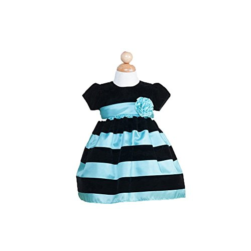 Crayon Kids Baby Girls Turquoise Black Striped Christmas Dress 12M front-937990