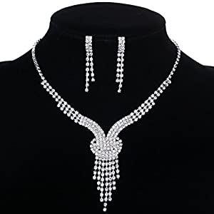 Yazilind Shining Clear Crystal Silver Plated Bridal Jewelry Sets Y-Shaped Necklace and Earrings