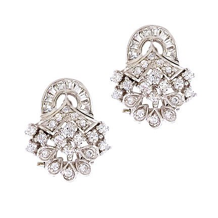 Sterling Silver Earring Bridal Jewelry cubic-zirconia. Diamond in (925. Sterling Silver)
