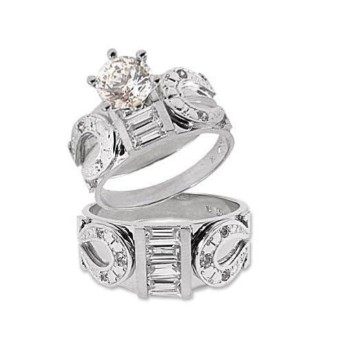 Amazon 14k White Gold Trio Three Piece Wedding Ring Set Horseshoe Lab Created Gems 10ct