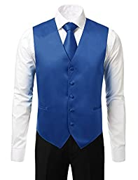 IDARBI Men\'s 4 Piece Set Dress Vest with Bowtie, Necktie, and Handkerchief ROYAL L