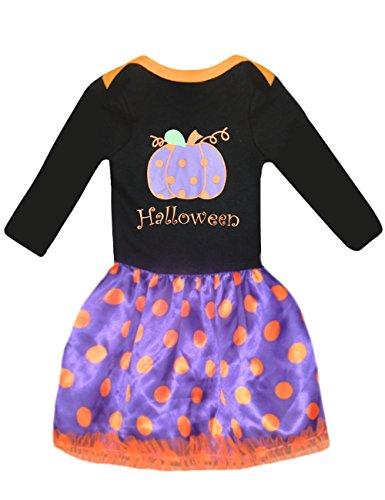 [Girls Halloween Costumes Dress Pumpkin Cotton Top + Dot Skirt (4T,black)] (Halloween Costumes Ideas For Newborns)