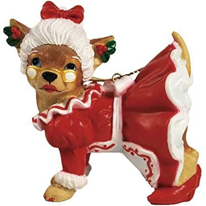 Mrs Claus Chihuahua Ornament