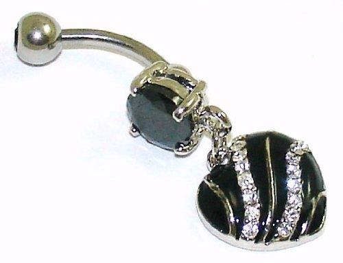 Belly Bars - Pierced & Modified - Body Jewellery - Elegant Black/White Crystal Dangle Heart Navel Bar