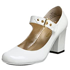 Me Too Women's Rudy Mary Jane :  heel chunky white patent