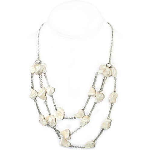 925 Sterling Silver Triple Strand Necklace with Shell Beads [Jewelry]