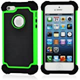 SOOPER Green Defender Heavy Duty Protective Hybrid Cover Case For Apple iPhone 5S / 5 (Green [Heavy Duty])