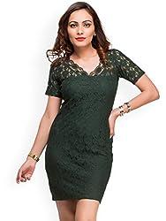 Amor Women's Polyester Dress(Amor_03_m_Green_Medium)