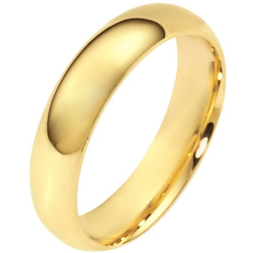 18K Yellow Gold, Half Round Wedding Band 5MM (sz 6.5)