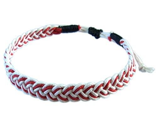 artisan-handgefertigt-armband-unisex-freundschaftsarmbander-weiss-rot-baumwolle-schnur
