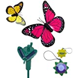 HQRP Pair of Solar Powered Flying Fluttering Butterflies Yellow and Pink Monarch for for Plant Flowers / Garden / Lawn / Yard Decor / Landscape Decor + HQRP UV Meter