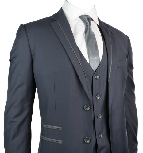 Mens Slim Fit Suit Blue Grey Silver Trim 3 Piece Work Office or Wedding Party Suit