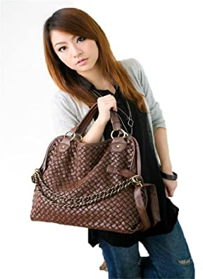 Oryer Fashion Women PU Leather Hobo Chain Weaving Woven bag Handbag Double Use Shoudler Bag(Deep Brown)