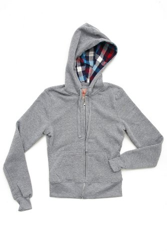 Judy Blue Grey Multicolor Buffalo Check Girls Zip Hoodie
