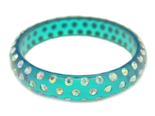 Baby Austrian Crystal Lucite Bangle Bracelet-CLEAR TEAL BLUE