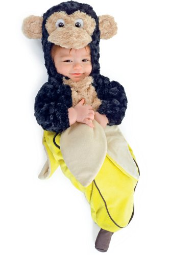 Monkey in a Banana Baby Bunting Costume 6-12 months with Bracelet for Mom