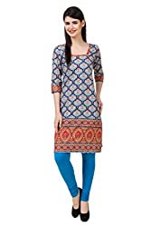 Kurti Collection pure 100% cotton digitally printed rainbow floral ethnic kurti fabric material (Unstitched)